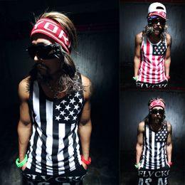 $enCountryForm.capitalKeyWord Australia - Wholesale- Fashion Men Tank Top T-shirt Muscle Sleeveless Vest Shirt men's summer Vest FASHION HIPOP USA NATIONAL FLAG TANK TOP