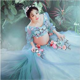 Gran venta azul claro vestido de embarazo flor de encaje vestido de hada estudio de maternidad accesorios de fotografía mujeres embarazadas vestido de lujo sesión de fotos