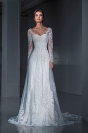 2016 lace tulle white spanish wedding dresses with long illusion sleeves designer western wedding bridal gown