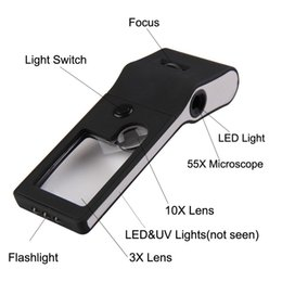 Jewelers Loupe Wholesalers NZ - Different Quality 6 in 1 Mini 3X - 10X - 55X Jewelers Loupe   Magnifier   Microscope With 6 LED & UV Lights Watch Repair Tool