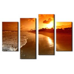 Oil painting seaside online shopping - Amosi Art Pieces Wall Art Seaside At Sunset Painting The Picture Print On Canvas For Home Decor Decoration Gift with Wooden Framed