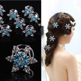 Blue rhinestone hair clips online shopping - Frozen Bridal Hair Accessories Silver Plated Sprial Pins Party Hair Accessories Wedding Head Pieces