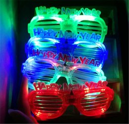 Light up eyes haLLoween online shopping - Fashion Happy New Year LED Flashing Glasses Glowing Eye Glasses Light Up Kids Toys Christmas Halloween Glow Party Supplies LZ0630