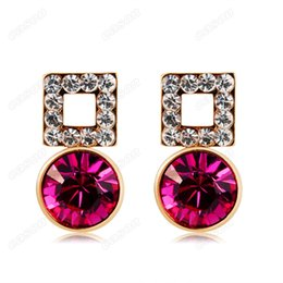 Colours Alloy Jewelry Canada - Brand New Cason Women fashion jewelry gold plated Square crystal Stud earrings red colour drop shipping EJ-0006