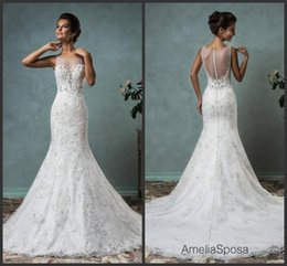 Amelia Sposa Wedding Dresses Canada - Amelia Sposa Wedding Dresses Vintage Full Lace Beading Formal Bridal Gowns With Jewel Neck Illusion Sheer Zip Back Arabic Long Gown