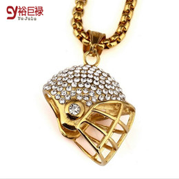 Real gold chain pendant foR men online shopping - real gold hiphop necklace for men Jewelry Necklace K Filled Football Helmets Gold Diamond Pendant Necklace titanium hip hop football