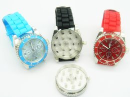 Grinder Watches Canada - Watch Grinder Heavy Spike Teeth Tobacco Crusher 2 in 1 Watch Style Herb Spice Pollen Mills Assorted Colors Wrist Watch Bands