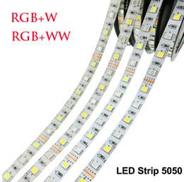 Venta al por mayor de LED Luz de tira 5050 RGBW DC12V 60 LED / m IP20 No impermeable RGB + W / RGB + WW Luz LED flexible 5m / lot 300m / lot DHL libre