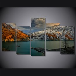 posters canvas prints Australia - 5 Pcs Set Framed Printed amirkabir dam Painting Canvas Print room decor print poster picture canvas Free shipping ny-4512