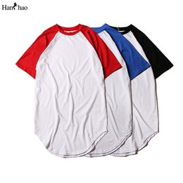 Chinese  Off Shoulder Color Block Mens T-shirt 2016 Summer Curved Hem Longline T shirts Men Streetwear Boys Tee 3 Colors 2xl manufacturers