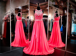 China Hot Pink Chiffon Prom Dress High Neckline Illusion Back Crystals Evening Dress Embellished with Sparkling Beading Pageant Dress supplier chiffon jewel neckline prom dresses suppliers