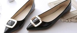 pointy flats shoes 2019 - 2015 fall winter women's shoes with flat pointy flat shoes asakuchi wedding shoes bride patent leather buckle @01 c