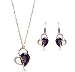 alloy wholesale Canada - Austrian Crystal Heart Jewelry Sets 18kgp Women Fashion Necklace Pendant Set High Quality Alloy Earrings Jewelry For Party 61152237