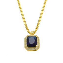 $enCountryForm.capitalKeyWord NZ - HipHop Mens 14k Gold Plated Iced Out Red Ruby Octagon Necklace Pendant with 3mm Chain Men Women Red Black Ruby Necklace