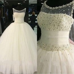 online shopping Stunning Puffy Ball Gown Wedding Dresses Sheer Scoop Neck Luxury Crystals Pearls Ruched Tulle Bridal Gowns Floor Length Custom Made