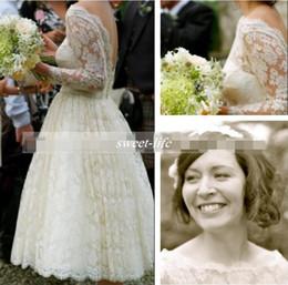 Discount tea length bateau wedding dresses - 1950s Vintage Wedding Dresses Lace Bateau Neckline Deep V Back 3 4 Long Sleeve Bridal Dresses Tea Length Garden Wedding