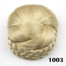 Rollers Chignon Canada - Wholesale-blonde Braided Clip In Hair Bun, hair Chignon Hairpiece, Donut Roller Bun Hairpiece, color 1003