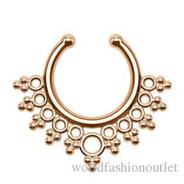 gold nose rings hoops Australia - new Clip-on Nose Rings Studs fake nose ring Unisex Punk Non Piercing Fake Nose Ring Stud Hoop 18k Gold Fake Septum Indian Piercing Drop Ship