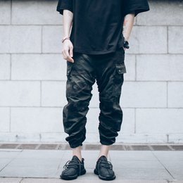 Urban camo clothing online shopping - chinos kanye joggers designer urban hip hop clothing mens capri ankle camouflage jumpsuit men cargo pants japanese fashion camo