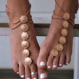 Boys Barefoot Sandals Canada - Ankle Bracelet Gold Plated Barefoot Sandals Vintage Anklets for Women Beach Jewelry Foot Bracelet Boho Anklet Chaine Cheville