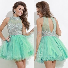Dreses De Fête À Bas Prix Pas Cher-New Shinning Crystal Short Homecoming Dreses 2016 Jewel Beading Sexy Back Mint Green Fuchsia Navy Blue Prom Party Cocktail Gown Cheap Custom