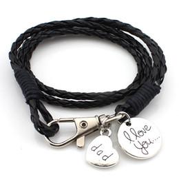 $enCountryForm.capitalKeyWord Canada - New Vintage Multilayer Woven Charm Bracelets I love you Keychain Bracelet PU Leather bangle For Fashion man&woman Accessories