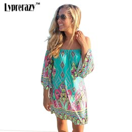 Barato Chiffon Floral Mini Vestidos-Lyprerazy 2017 Summer Beach Dress Moda Bohemian Boho Flower Print Off Shoulder Womens Casual Vintage Women Plus Size Dresses