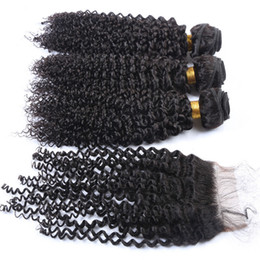 curly human hair bundles UK - Human Hair Weave Malaysian Hair With Closure Free Middle 3Way Part Top Closure With Bundles Natural Color Kinky Curly With Closure