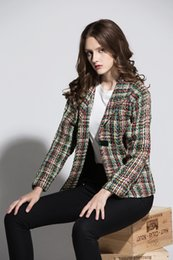 Tweeds Vêtements Pas Cher-Haute qualité 2017 automne et hiver tout nouveau style de la robe camellia simple couleur lingerie tweed costume veste femmes vêtements