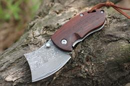 wholesale lock blade knife 2019 - 12Pcs EDC Pocket Folding Knife Damascus Steel Blade Ebony Handle Keychain Knife Small Give Knives Xmas Gift Lock Liner c