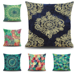 Discount linen cushion geometric patterns 2016 New Geometric Pattern Cushion Cover Green Plants Home Cushion Case 45*45CM 18 Inch Linen Cushion Outside Cloth Family Gift Pillow Case