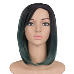 black blonde ombre hair bob UK - Synthetic Hair Wigs short green bob straight Heat Resistant Wigs For Black Women Mtmei hair ombre two tone color hair