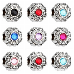 Mixed big hole rhinestone beads online shopping - Mixed Colors Rhinestone Crystal Tibetan Silver flower heart Carve Anger European Big Hole Spacer Beads For Charms Bracelet