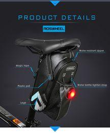 Roswheel Waterproof Cycling Bike NZ - ROSWHEEL Bicycle Saddle Seat Bike Rear Bag with Cycling Light Waterproof Bicycle Light