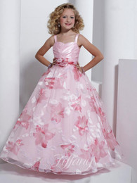 child ball gown dress patterns Canada - Flower Girls Dresses Spaghetti Strap Ball Gown Flower Pattern Light Pink Dress Kid Children Big Girl Pageant Party Prom Formal Dress