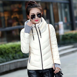 Crystal Designs Canada - Jacket Women Padded Slim Plus Size Hooded Parkas Stand Collar Coat Thicken Outerwear Coat Women Down Coats Short Slim Design Cotton-padded
