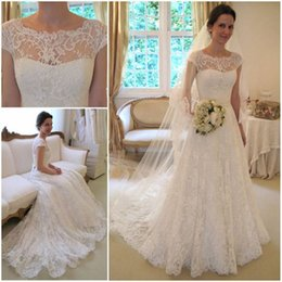 2017 Mature Lace Wedding Dresses With Cap Sleeves Illusion Neckline Custom  Made Elegant Chapel Bridal Wedding Gowns