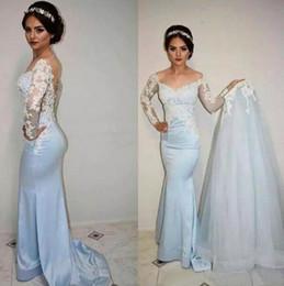 Detachable Off Shoulder Lace Gown Canada - Modest 2017 Light Blue Satin Off The Shoulder Mermaid Wedding Dresses With Tulle Detachable Skirt Lace Appliqued Bridal Gowns EN8317