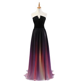 Chinese  2019 Newest Sweetheart Sleeveless Sashes Long Gradient Color Chiffon Prom Dresses Long Evening Party Dress Robe de soiree Custom Made Cheap manufacturers