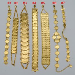 799e1e856beb Pulsera de monedas de dinero 18K chapado en oro islámico musulmán monedas  árabes pulsera para mujeres Hombre árabe de Oriente Medio brazalete de joyas