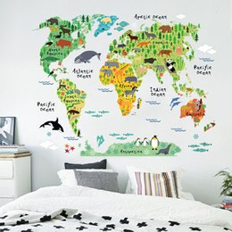 funny bathroom wall art UK - 60x90cm Cute Funny Animal Wall Stickers for Kids Rooms Living Room Home Decor World Map Wall Decor Mural Art