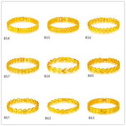 $enCountryForm.capitalKeyWord Canada - 6 pieces a lot mixed style hot sale fashion women's yellow gold Bracelet,Clover Barley Semi hollow heart 24k gold Bracelet EMKB8
