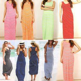 2f9ab153014 Sexy Women Summer Boho Long Maxi Dress Beach Sleeveless Tank Dresses Plus  SIZE Striped Cotton Femme VestidosS M L XL XXL affordable plus size cotton  tank ...