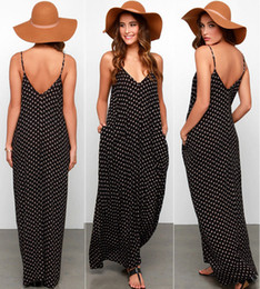 Maxi Long Été Plage Sundresses Pas Cher-Vente en gros-New Sexy Femmes Summer Polka Dot Vestidos robe en mousseline de soie Boho Long Maxi Holiday Party Soirée Plage BlackWhite Sundress