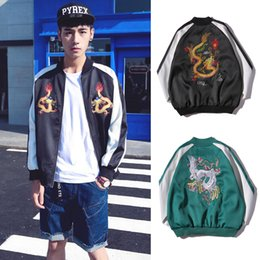 Barato Jaquetas Zip Meninos-New Style Embroidered Dragon Jacket Varsity Baseball Jersey Casacos Long Sleeve Zip-Up Casual Casacos Boys Girls Sports Tops RFG0908