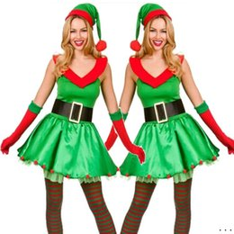 Claus Santa Femenino Baratos-Adultos Sexy Santa Claus Dress Verde Árbol de Navidad Female Celebrate Party Show Elegant Santa Elf Costume