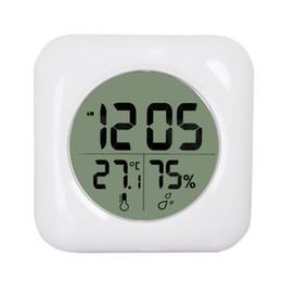 Moda blanco LCD NUEVA ducha a prueba de agua cuarto de baño reloj de pared temperatura termómetro higrómetro metro indicador de humedad del monitor