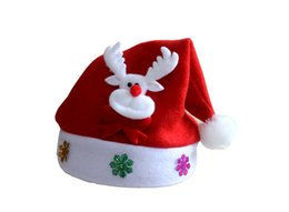 led cloths 2020 - Christmas Hat with Led Light Cartoon Kids Applique Santa Deer Snow Pattern Christmas Hats Holiday Supplies cheap led clo