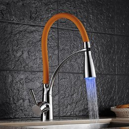 black faucet led Canada - Free shipping Promotion black kitchen sink faucet and oragne kitchen sink mixer tap with LED kitchen mixer tap water faucet