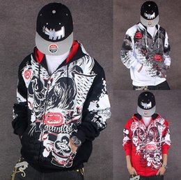 coating fat NZ - Tide brand men's autumn and winter in Europe and America HIPHOP hip-hop hip-hop graffiti coat sweater casual fat plus fat XL